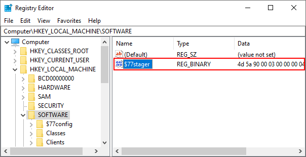 r77 stager binary in registry